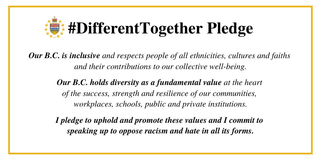 B.C. #DifferentTogether Pledge